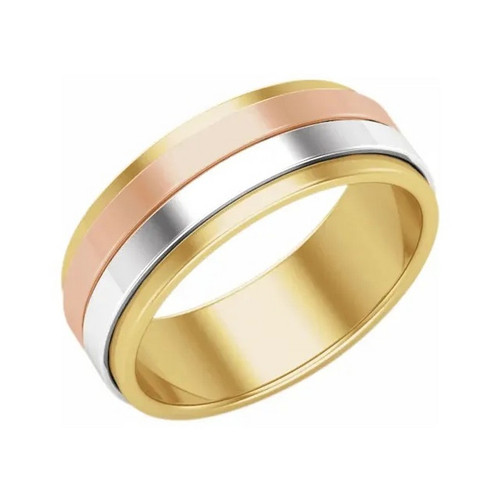 8 MM Flat Edge Wedding Band in 14k Tri-Colour Gold