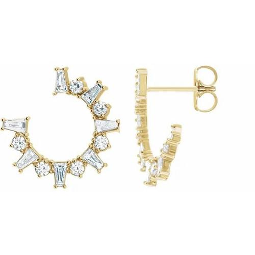 1 Carat Diamond Front Facing Hoop Earrings