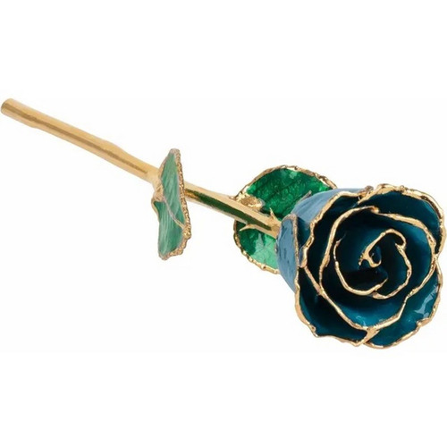 Lacquered 24K Gold Trimmed Blue Zircon Rose