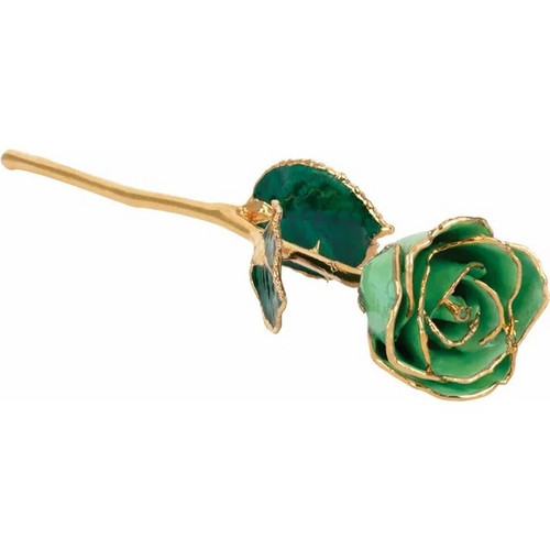 Lacquered 24k Gold Trimmed Peridot Rose