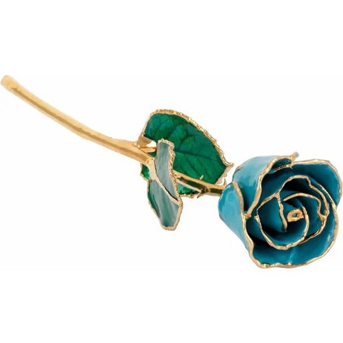 Lacquered 24K Gold Trimmed Aquamarine Coloured Rose