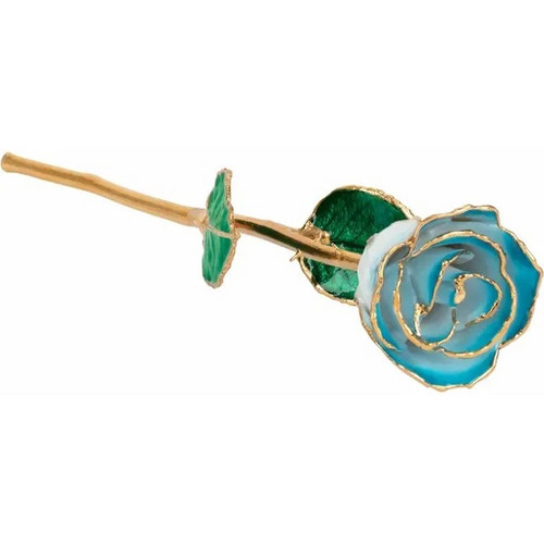 Lacquered  24K  Gold Trimmed Cream Turquoise Coloured Rose