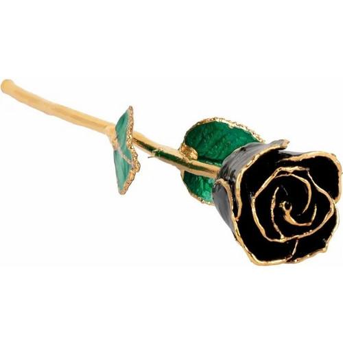 Lacquered 24k Gold Trimmed Black Rose