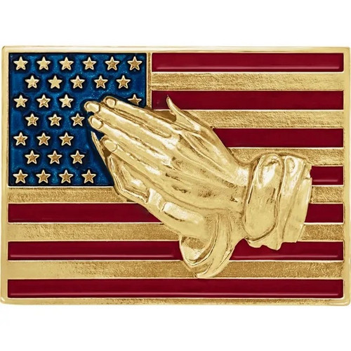 American Flag  with Praying Hands Lapel Pin