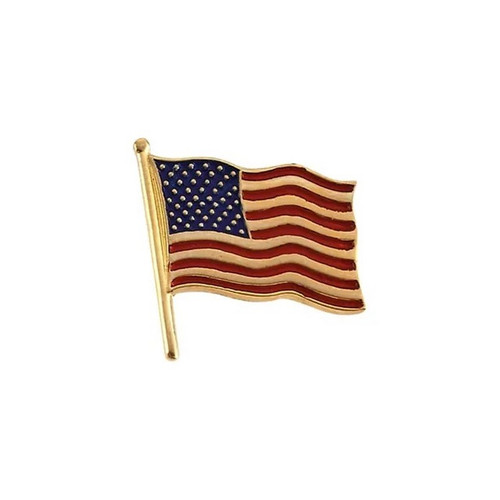 American Flag Lapel Pin in 14k Yellow or White Gold