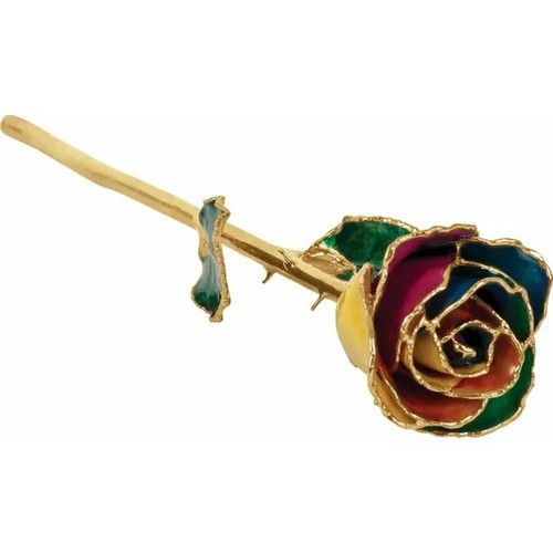 Lacquered 24k Gold Trimmed Rainbow Rose