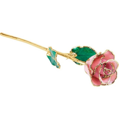 Lacquered 24k Gold Trimmed Pink Pearl Rose