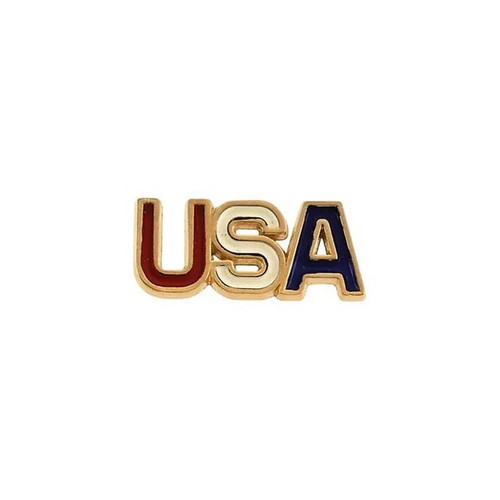 USA Red White and Blue Lapel Pin in 14K  Yellow Gold