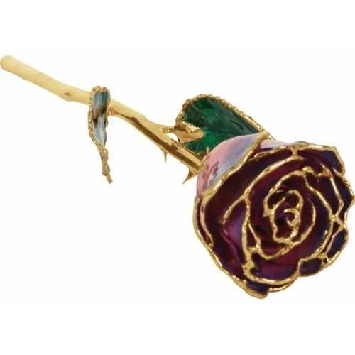 Lacquered 24K Gold Trimmed Purple and Pink Rose