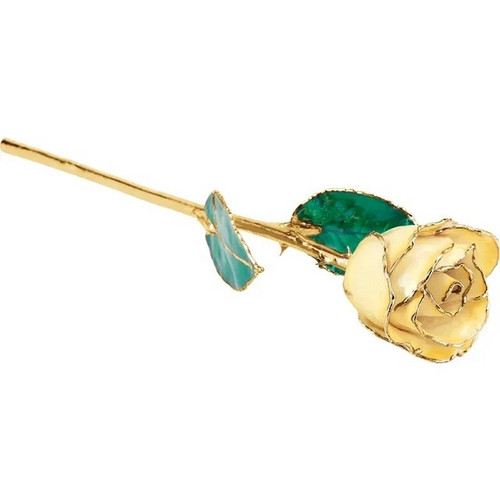Lacquered 24K Gold Trimmed Cream Yellow Rose