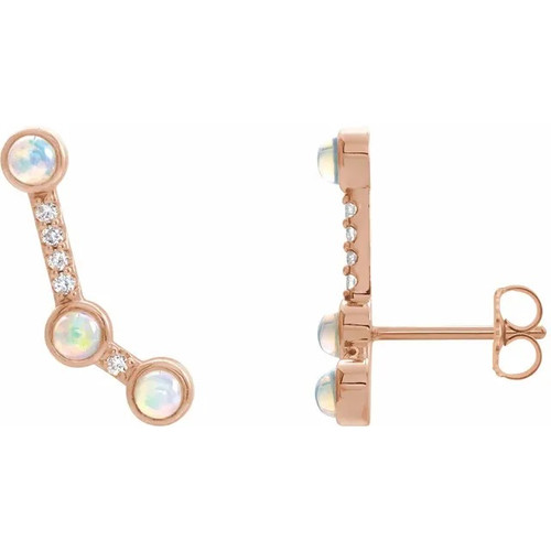 Ethiopian Opal and Diamond Ear Climbers in 14K Gold