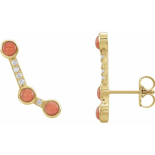 Pink Coral and Diamond Ear Climbers in 14K Gold