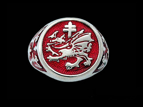 Order of the Dragon Enamel Signet Ring in Sterling Silver