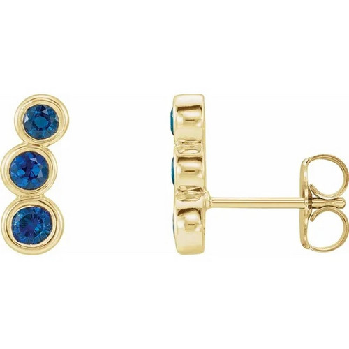 Blue Sapphire Three Stone Ear Climbers in 14k Gold