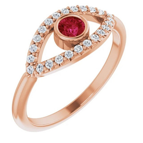 Evil Eye Ruby and White Sapphire Ring