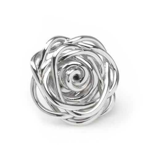 Rose Lapel Pin in Rhodium Plated Sterling Silver