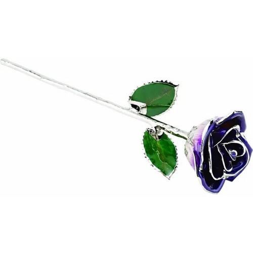 Lacquered Platinum Trimmed Purple Rose