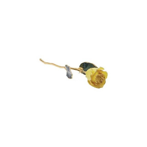 Lacquered 24k Gold Trimmed Yellow Rose
