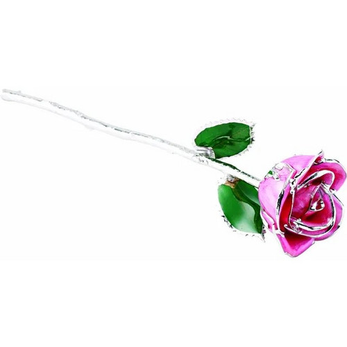 Lacquered Platinum Trimmed Pink Rose