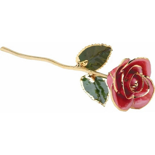 lacquered 24k Gold Trimmed Pink Rose