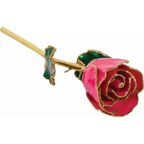 Lacquered 24k Gold Trimmed Magenta Rose