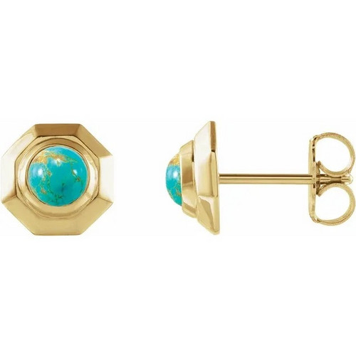 Geometric Cabochon Gemstone Stud Earrings in 14k Gold