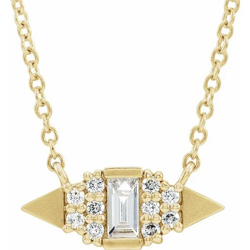 Diamond Geometric Necklace in 14k Gold