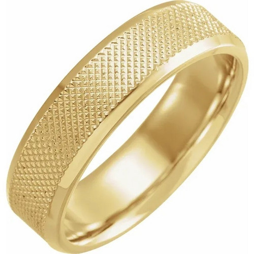 Knurled Beveled Edge Wedding Band in 18k Gold or Platinum