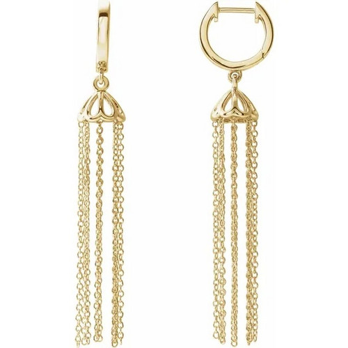 Chandelier Hinged Hoop Chain Earrings in 14 Gold
