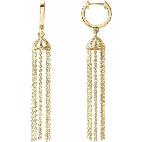 Chandelier Hinged Hoop Chain Earrings in 14 Gold