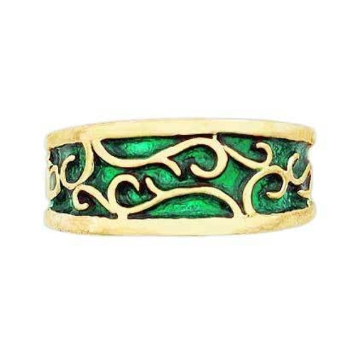 Ladies Enamel Earth Band in 14k Gold