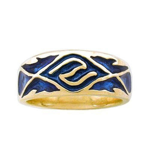 Men's Enamel Water Band in 14k Gold