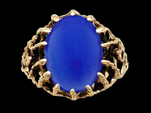 Medieval Blue Knight Lord's Ring with Blue Onyx