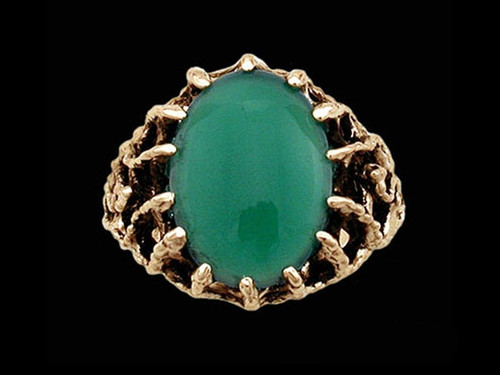 Medieval Green Knight Lord's Ring with Green Onyx