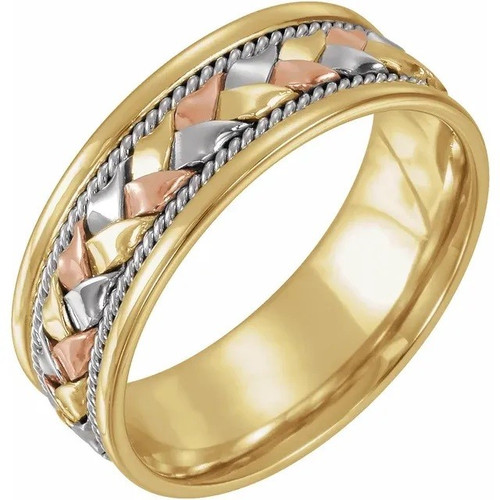 8 MM Woven Wedding Band in 18k Tri-Colour Gold