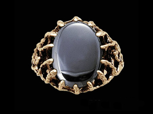 Medieval Moon Mage Lord's Ring with Hematite Stone