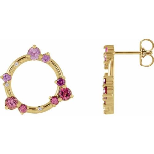 Pink Multi-Gemstone and Diamond Circle Earrings in 14k Gold