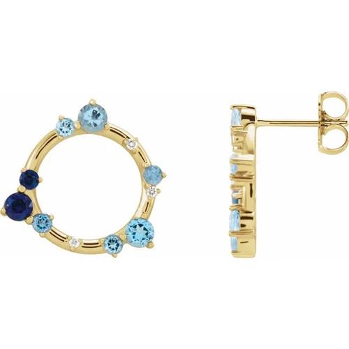 Blue Multi-Gemstone and Diamond Circle Earrings in 14k Gold