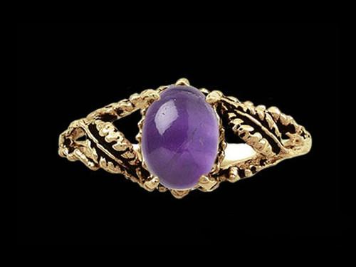 Medieval Gemstone  Leaf Ring in 14k Gold