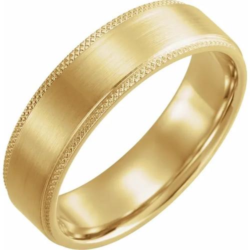 Flat Knurled Edge Satin Finish Wedding Band in 18k Gold or Platinum
