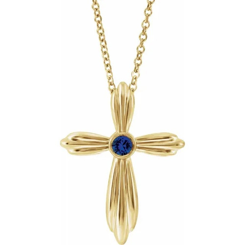 Birthstone Cross Necklace in 14k Yellow, Rose or White Gold and Platinum
