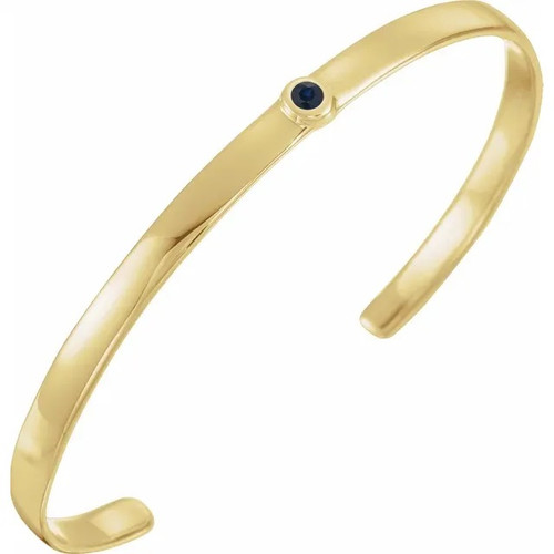 Bezel Set Birthstone Open Cuff Bracelet