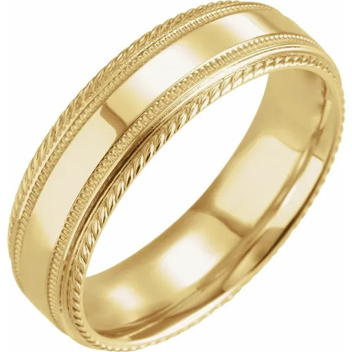 6mm Rope Edge Wedding Band with Milgrain  in 18k Gold or Platinum