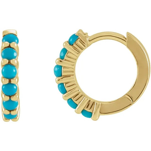 Turquoise Hinged Hoop Earrings