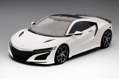 Acura NSX 2017 130R White with Carbon Fiber Package LHD 1:12 Scale Model by TSM