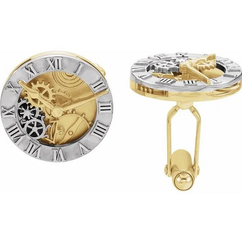 Clock Style Cufflinks in 14k Yellow and White Gold