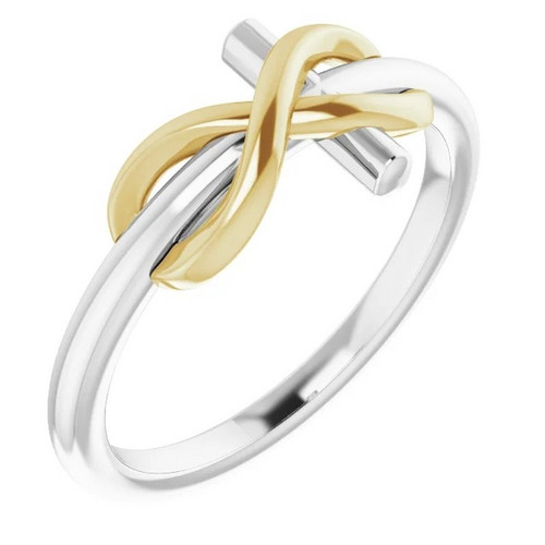 Infinity Cross Ring in 14k Two-Tone Gold