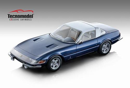 Ferrari Metallic Blue 365 GTB/4 Daytona Coupe 1969 Speciale Tour de France 1:18 Scale Model by Tecnomodel