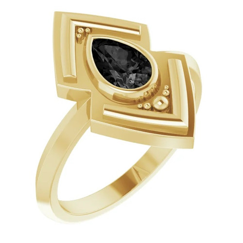 Geometric  Black Onyx Ring in 14k Gold