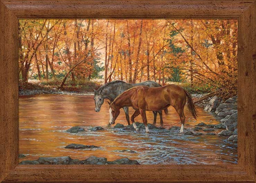 Serenity Walking Horses in Stream Autumn Framed Gallery Canvas Art Print by Chris Cummings